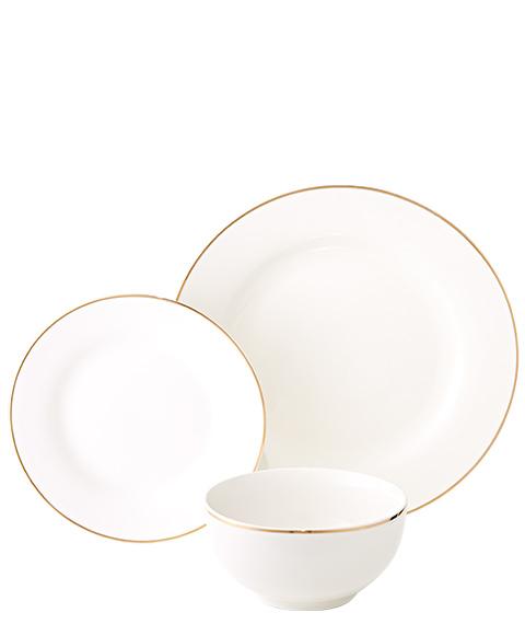 12pc Gold Rim Dinner Set